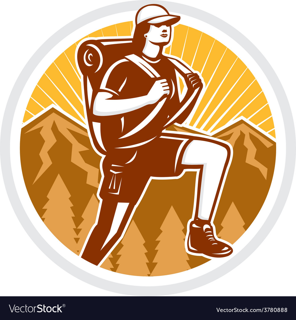 Female hiker hiking mountain circle retro vector | Price: 1 Credit (USD $1)