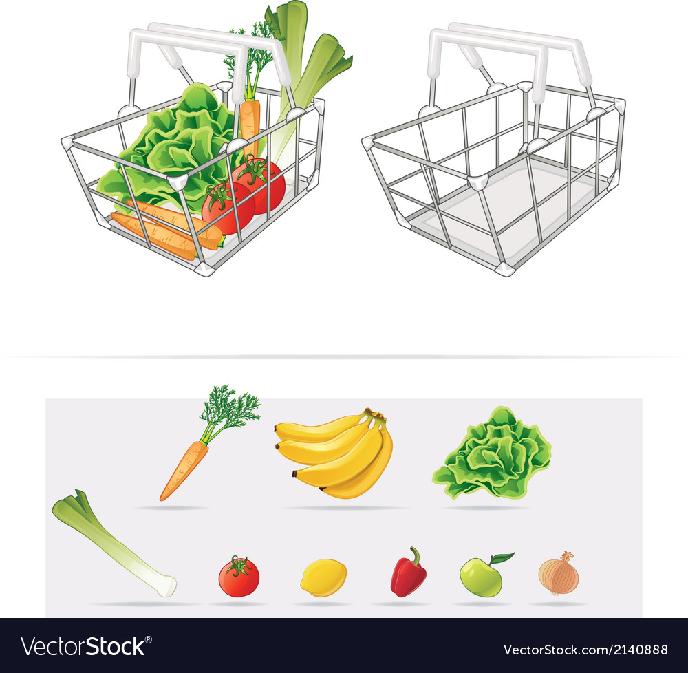Grocery basket vector | Price: 1 Credit (USD $1)