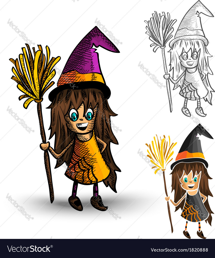 Halloween monsters spooky isolated witches set vector | Price: 1 Credit (USD $1)