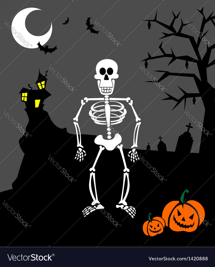 Halloween pumpkins and skeleton scary background vector | Price: 1 Credit (USD $1)