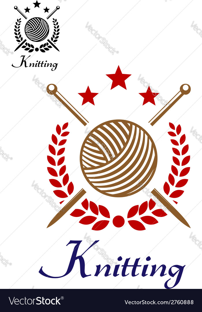 Hand knitting emblem vector | Price: 1 Credit (USD $1)