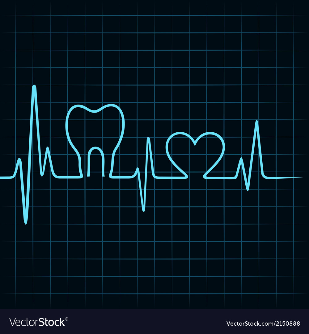 Heartbeat make a teeth and heart symbol vector | Price: 1 Credit (USD $1)
