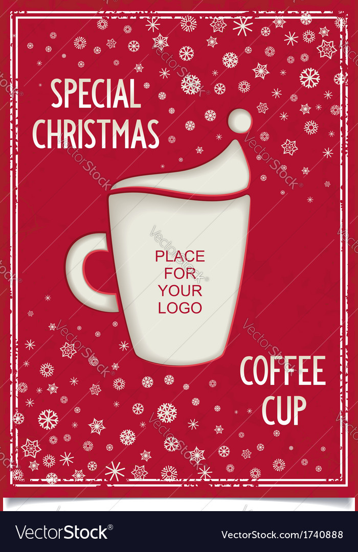 Joke christmas poster with stylized coffee cup vector | Price: 1 Credit (USD $1)