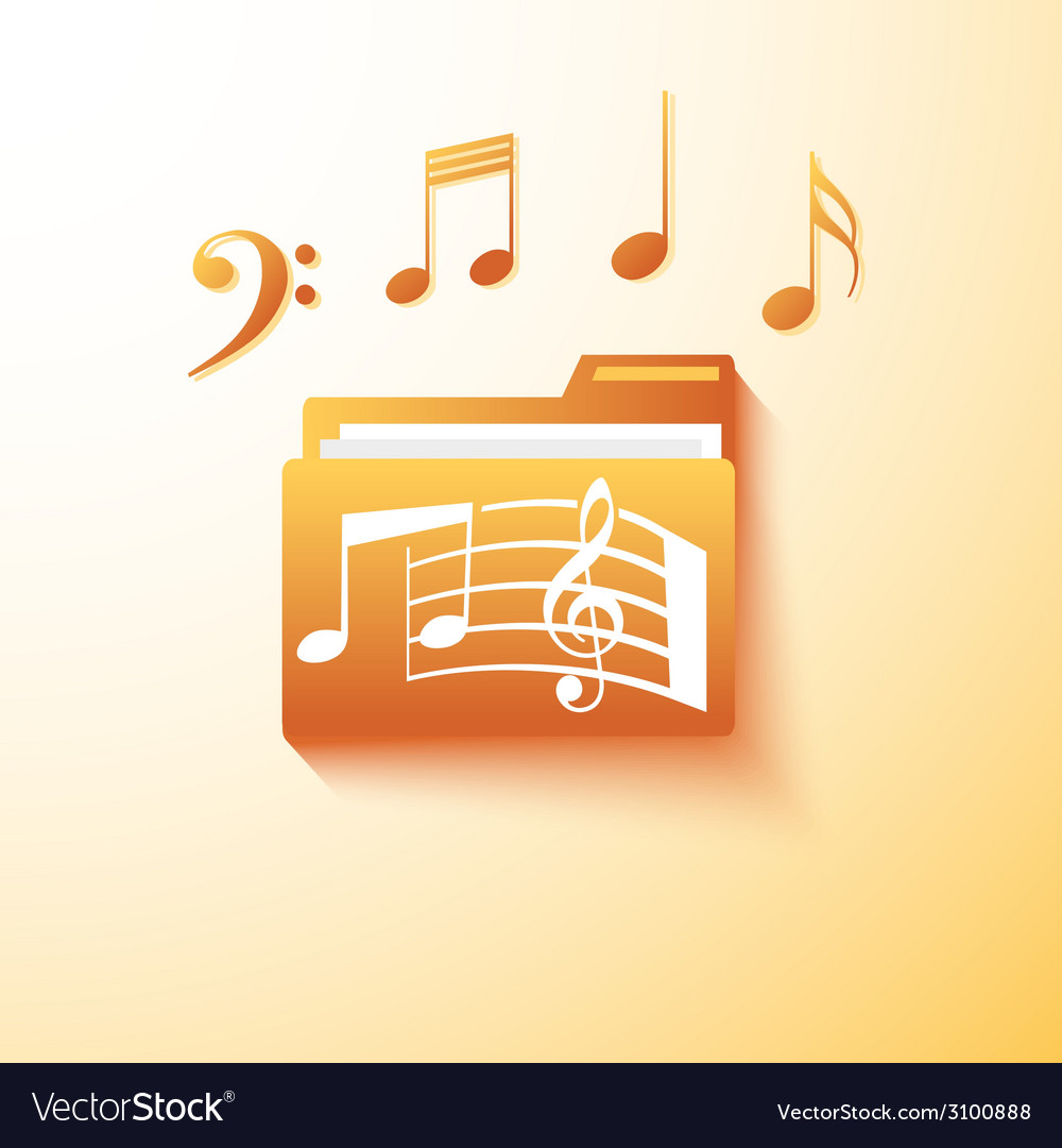Musical notes folder vector | Price: 1 Credit (USD $1)