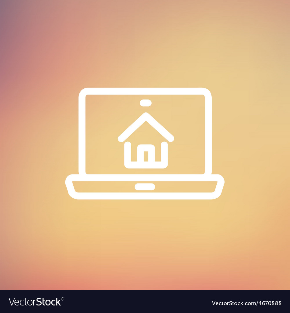 Online house shopping thin line icon vector | Price: 1 Credit (USD $1)