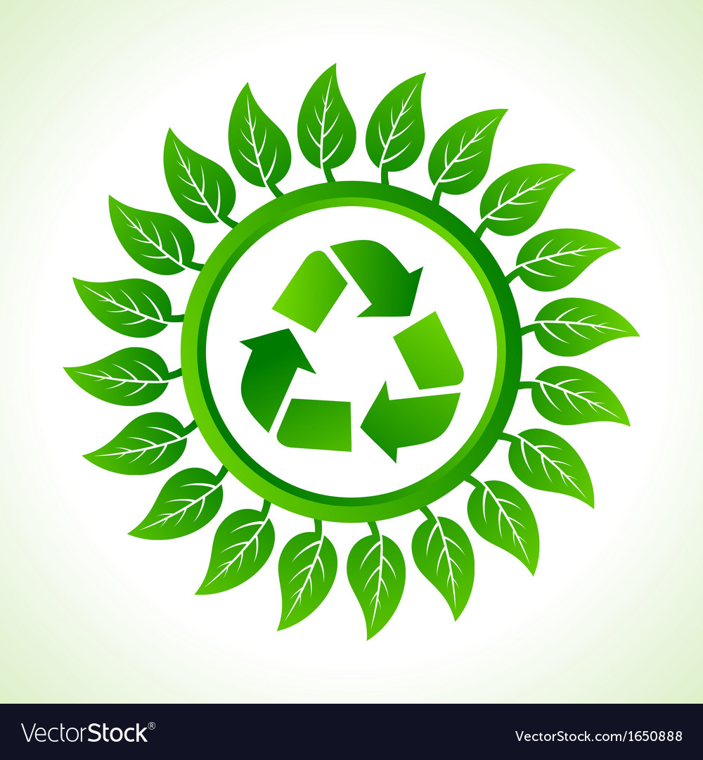 Recycle icon inside the leaf background vector | Price: 1 Credit (USD $1)