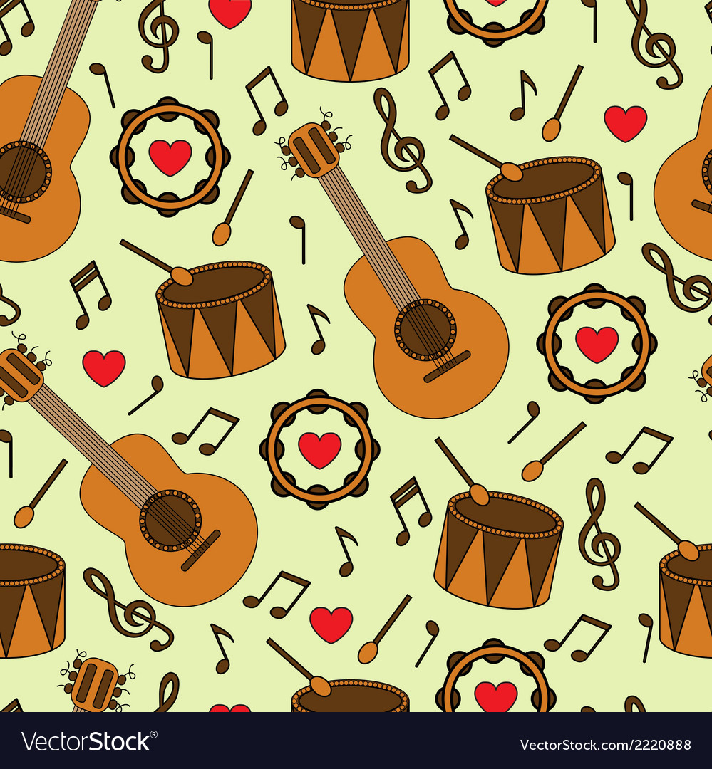 Seamless background with musical instruments vector | Price: 1 Credit (USD $1)
