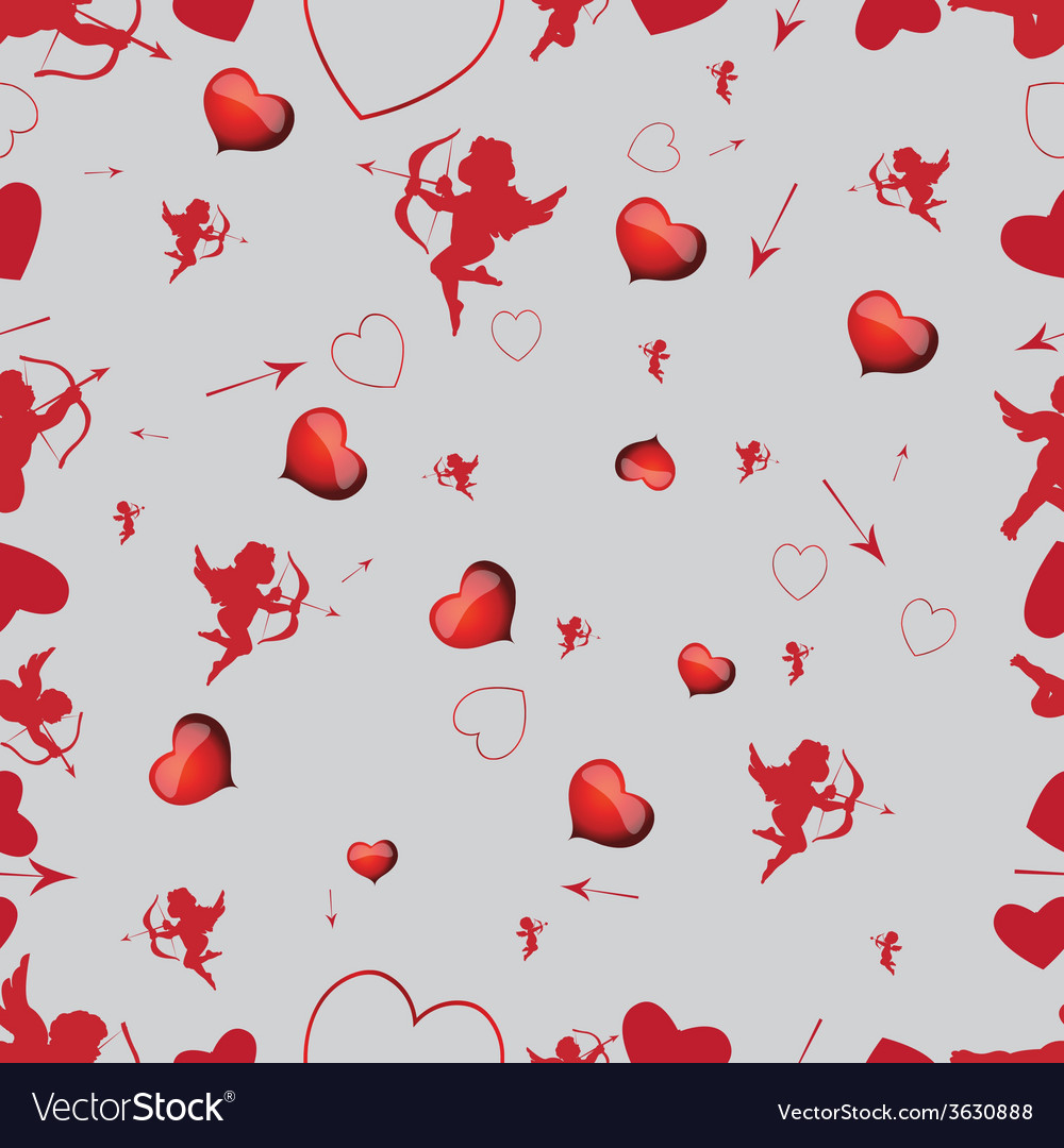 Seamless pattern with cupids and hearts vector   Price: 1 Credit (USD $1)
