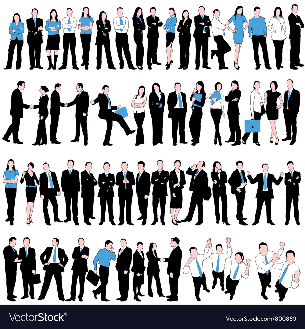 60 business people silhouettes vector | Price: 1 Credit (USD $1)