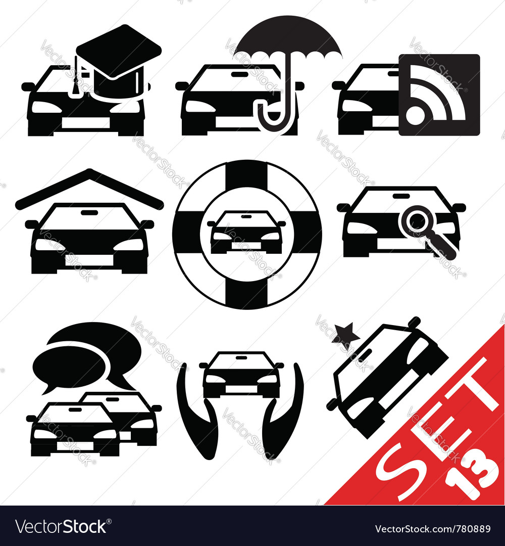 Car part icon set 13 vector | Price: 1 Credit (USD $1)