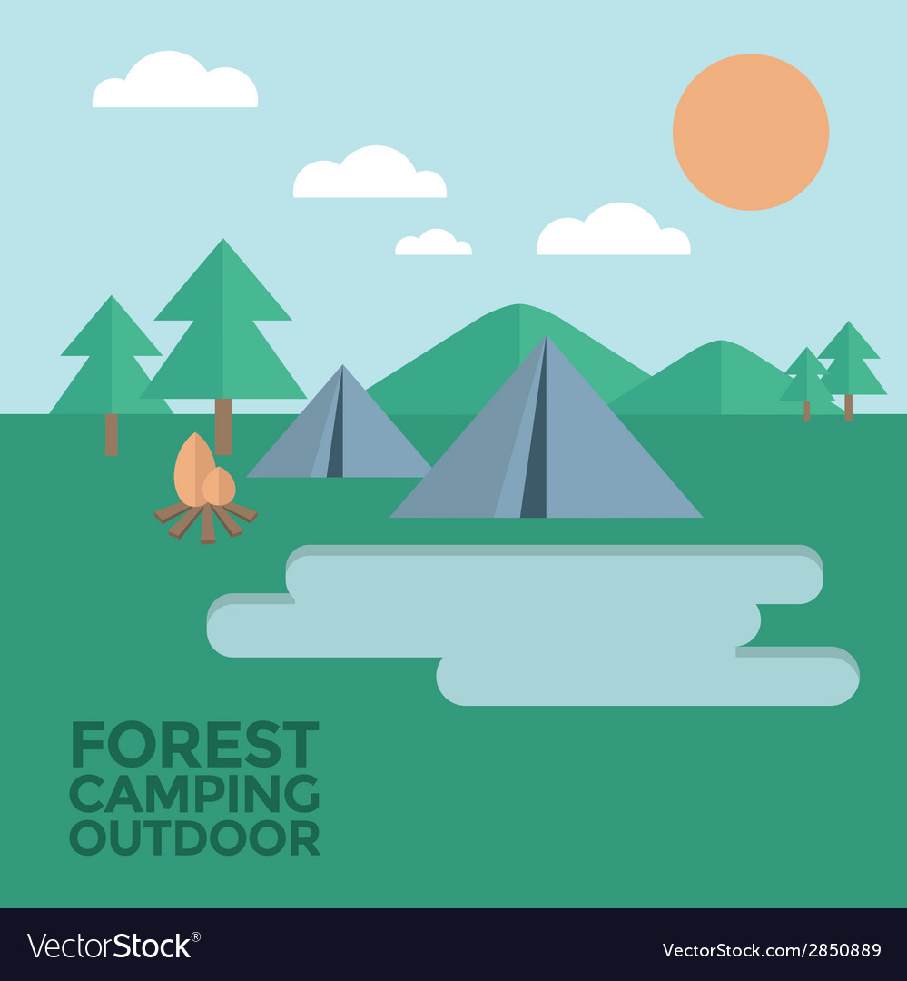 Forest camping outdoor vector | Price: 1 Credit (USD $1)