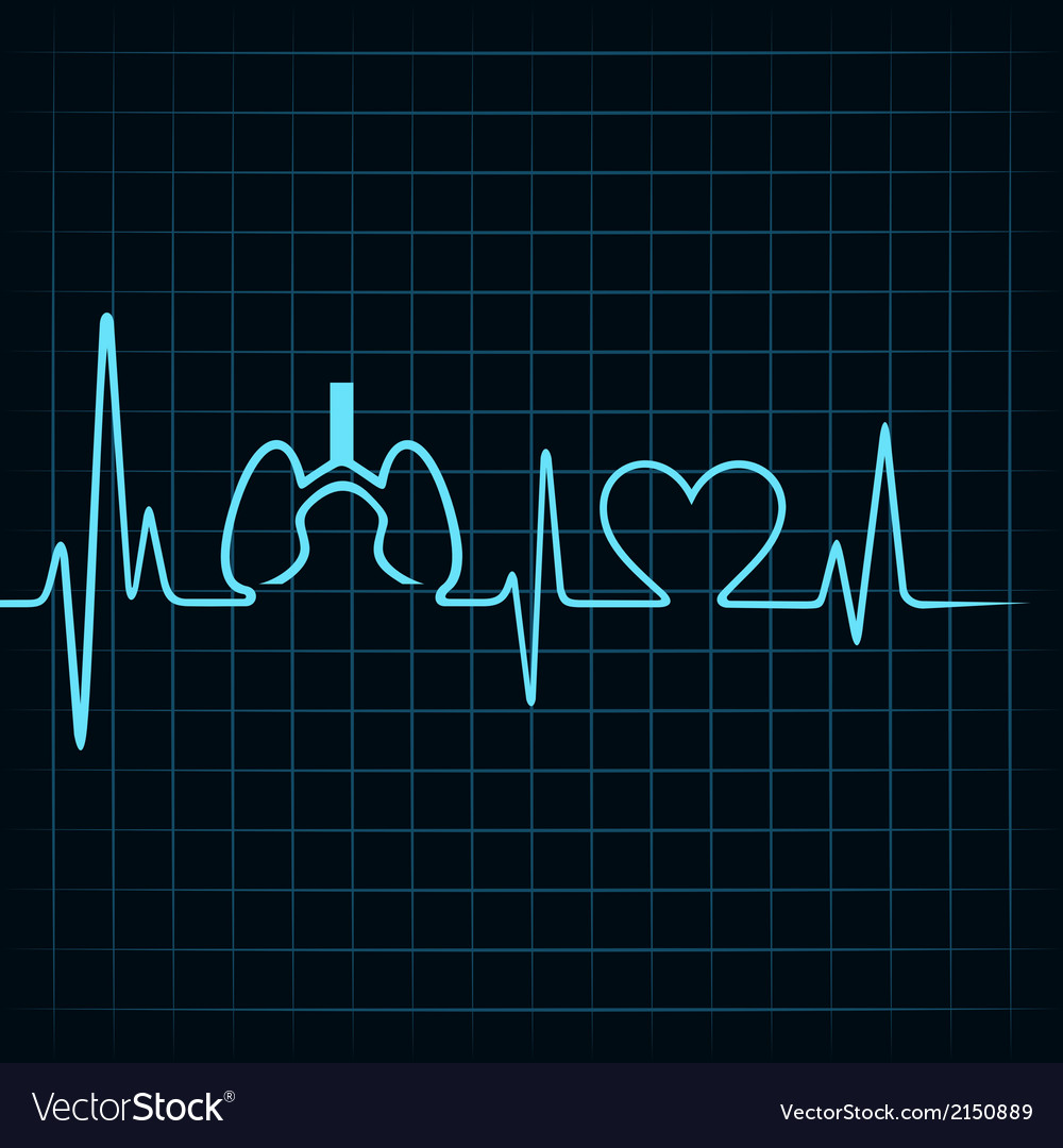Heartbeat make lungs and heart symbol vector | Price: 1 Credit (USD $1)