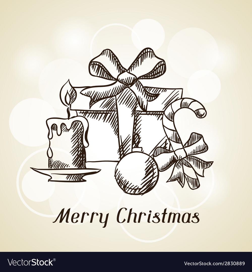 Merry christmas hand drawn invitation card vector   Price: 1 Credit (USD $1)