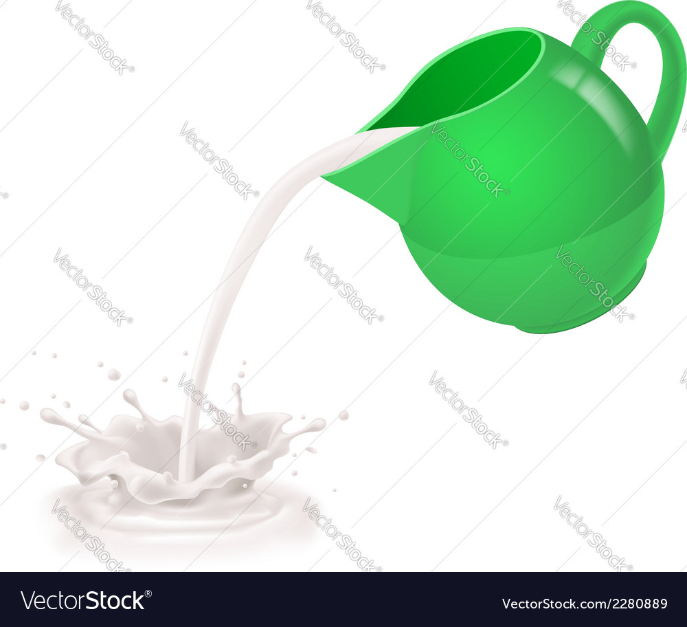 Milk being poured from jug vector