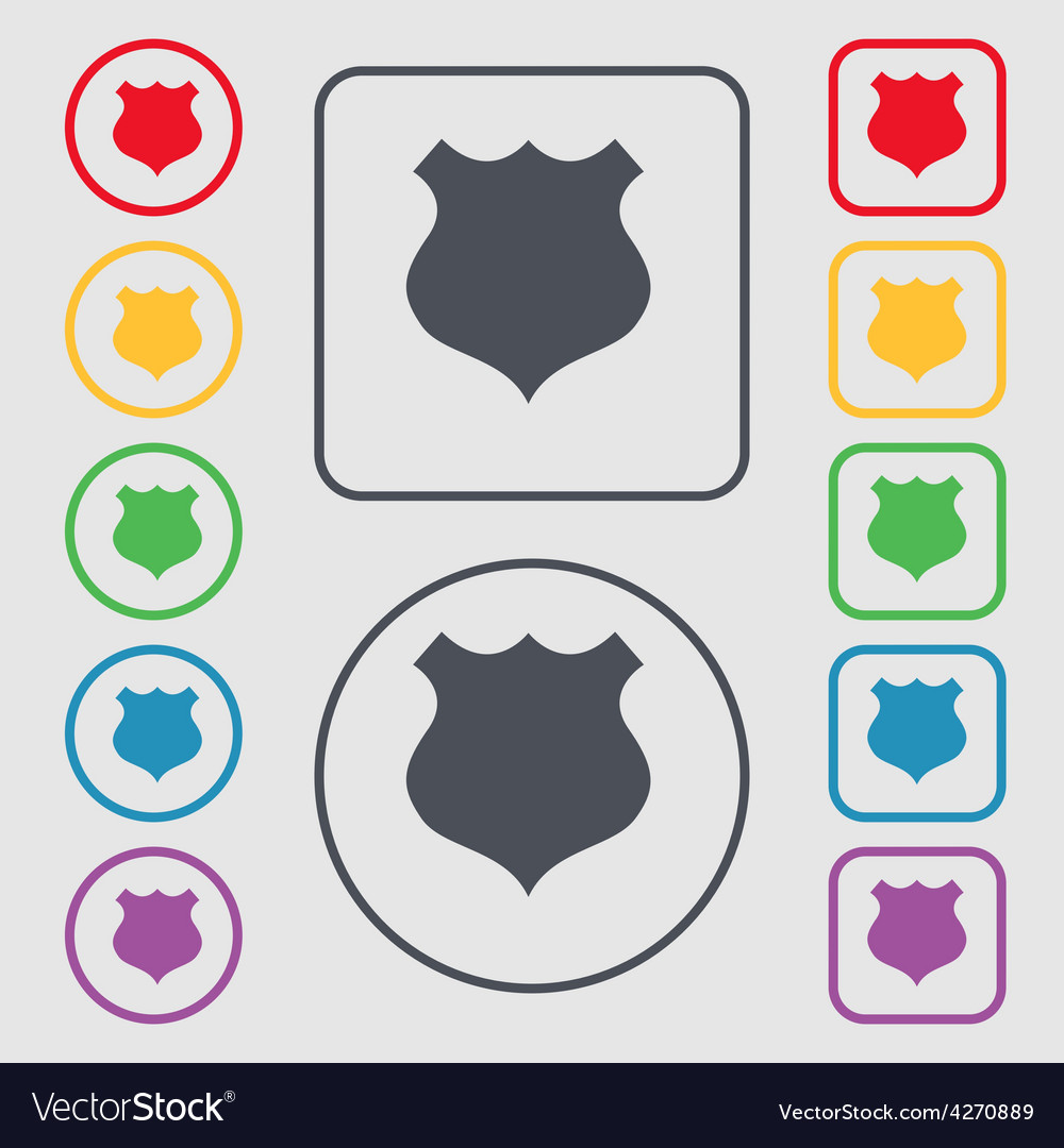 Shield icon sign symbol on the round and square vector | Price: 1 Credit (USD $1)