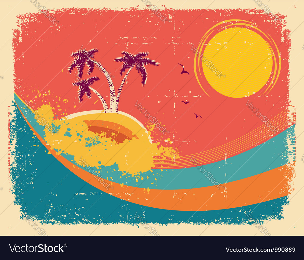 Vintage tropical card on old paper texture vector | Price: 1 Credit (USD $1)