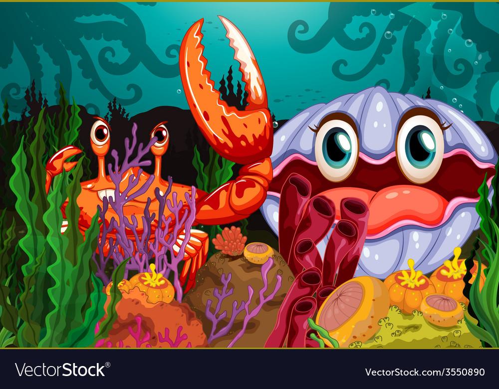 A big crab and a clam vector | Price: 3 Credit (USD $3)