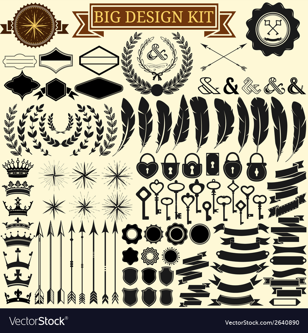 Big vintage design kit collection of 100 vector | Price: 1 Credit (USD $1)