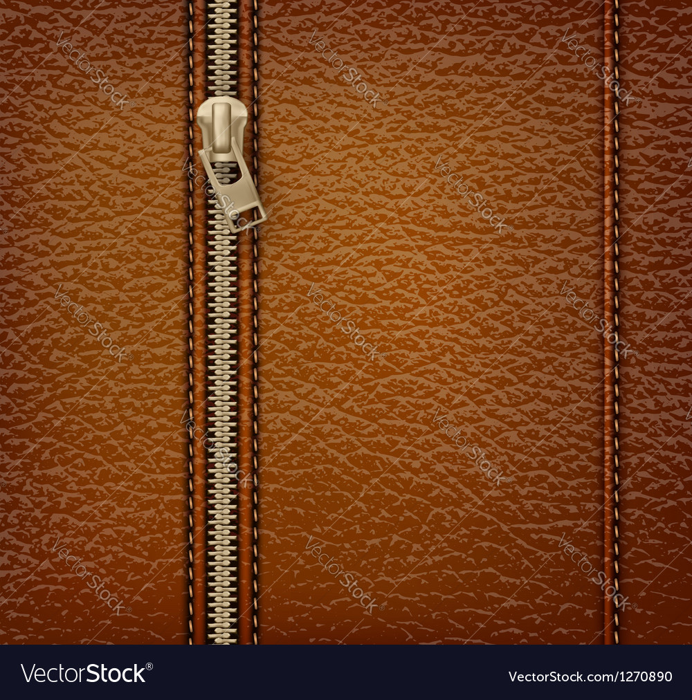 Brown leather texture background with zipper vector | Price: 1 Credit (USD $1)
