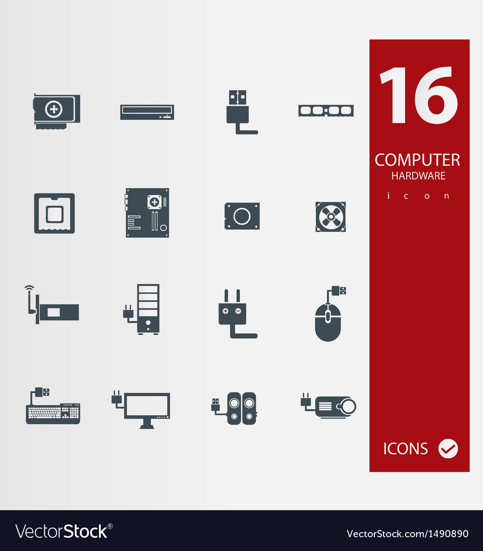 Computer hardware icons vector   Price: 1 Credit (USD $1)