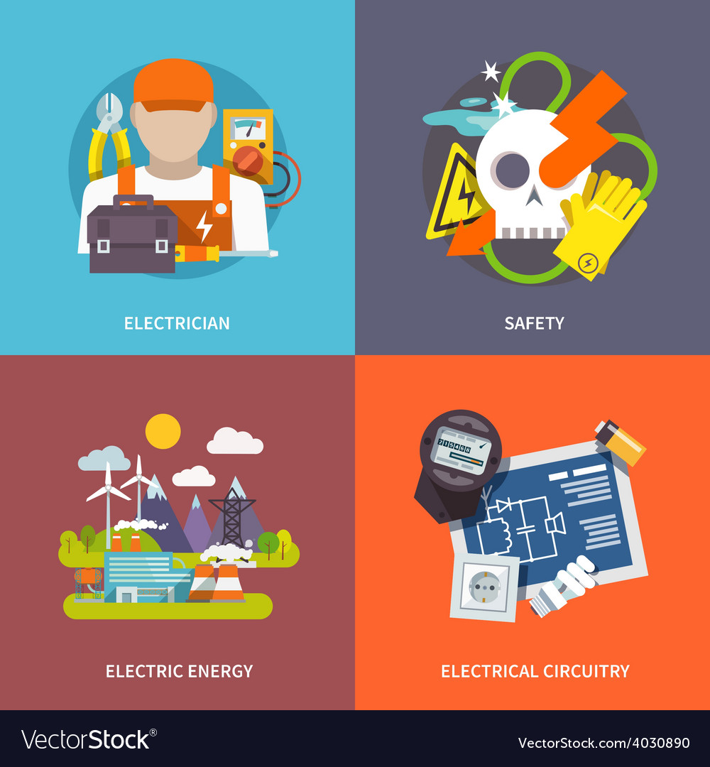Electricity flat set vector | Price: 1 Credit (USD $1)