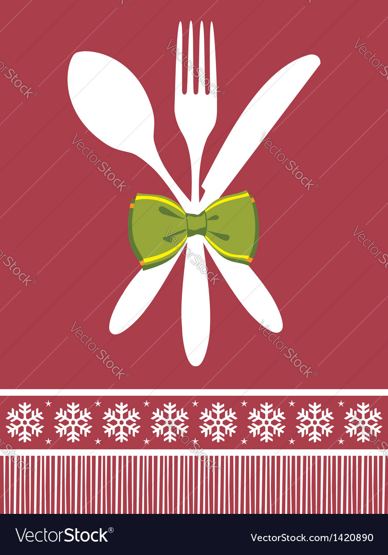 Fork spoon and knife christmas background vector | Price: 1 Credit (USD $1)