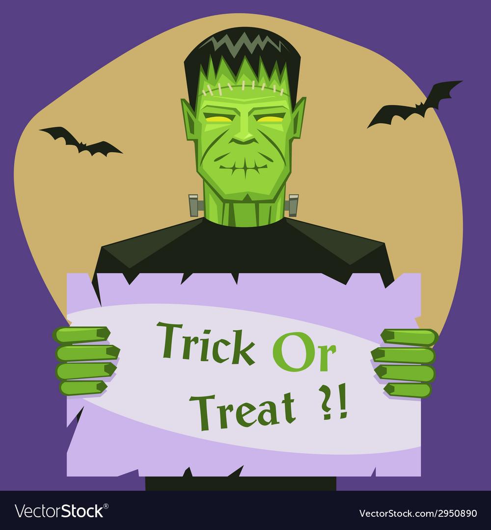 Frankenstein holding banner vector | Price: 1 Credit (USD $1)
