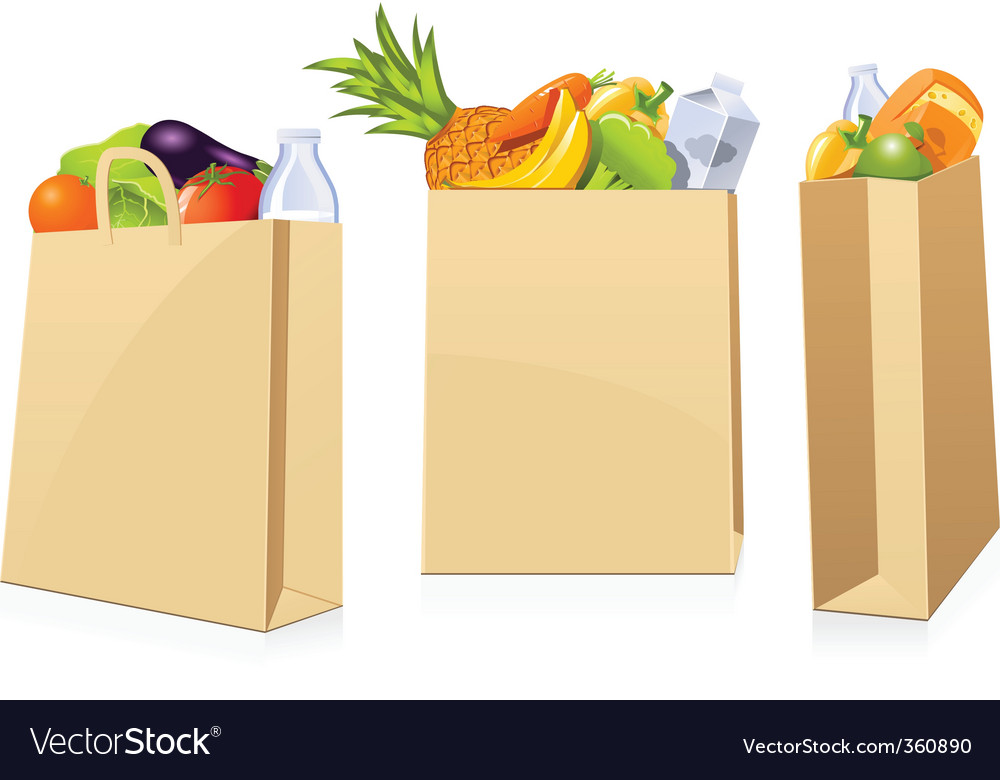 Grocery shopping bags vector | Price: 3 Credit (USD $3)