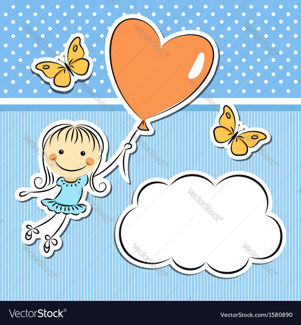 Happy girl with heart balloon vector | Price:  Credit (USD $)