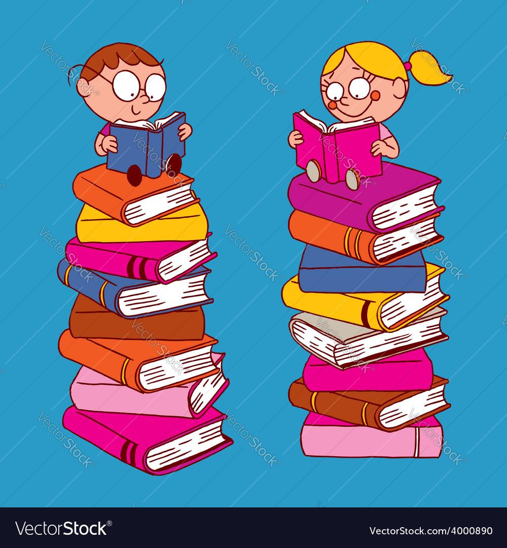 Kids reading vector | Price: 1 Credit (USD $1)