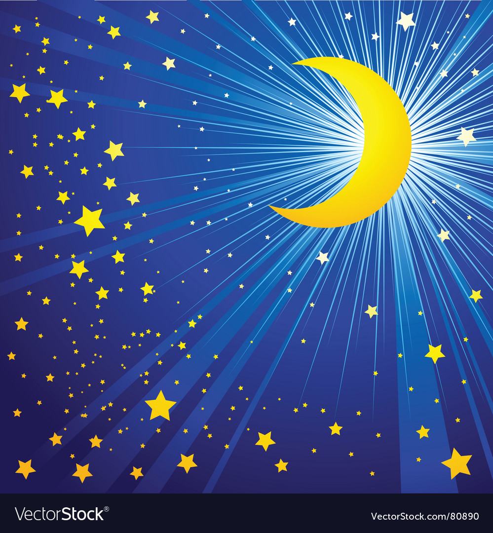 Moon on the night sky vector | Price: 1 Credit (USD $1)