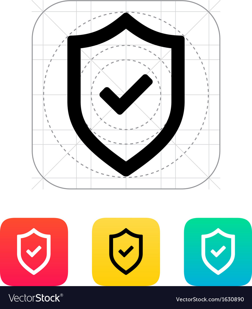 Shield with check mark icon vector | Price: 1 Credit (USD $1)