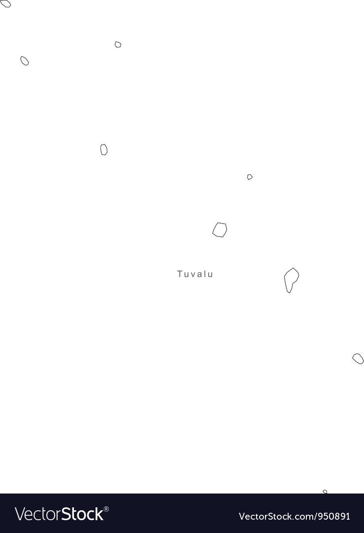 Black white tuvalu outline map vector | Price: 1 Credit (USD $1)