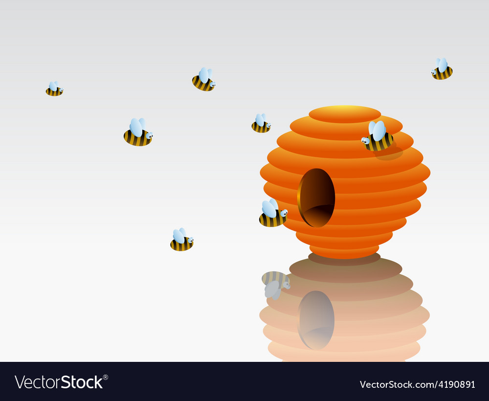 Cartoon beehive with bees vector | Price: 1 Credit (USD $1)