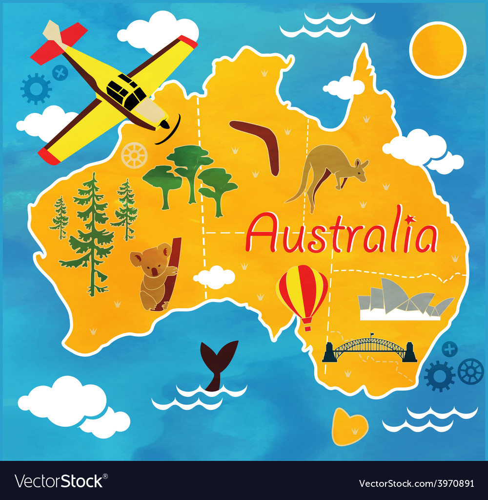 Cartoon map of australia vector | Price: 1 Credit (USD $1)