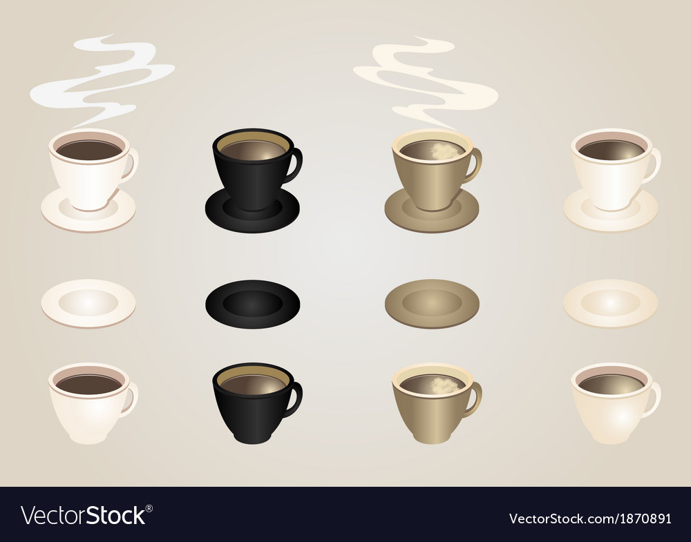 Coffee cups and saucers collection vector | Price: 1 Credit (USD $1)