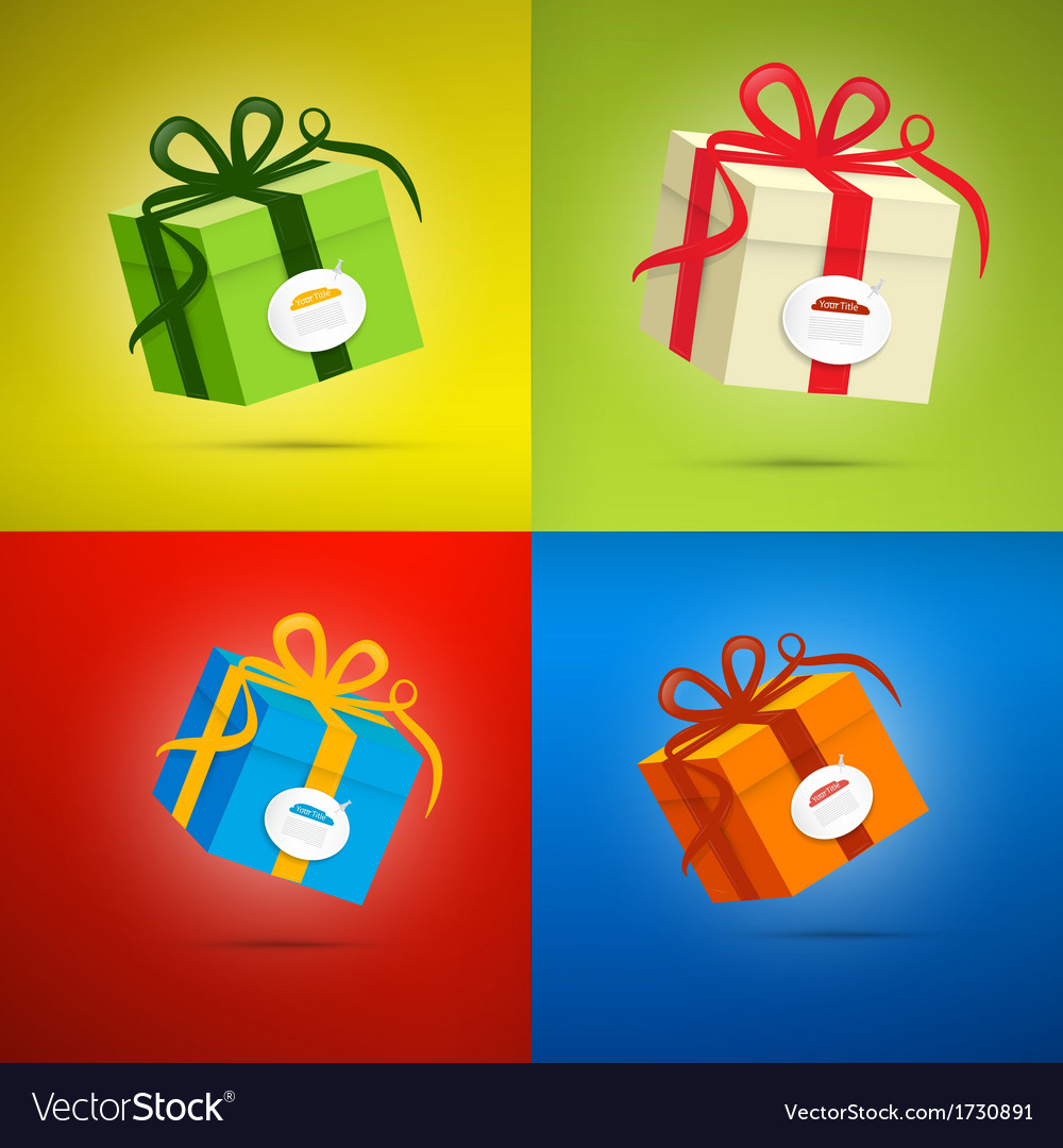 Colorful present box gift box set vector | Price: 1 Credit (USD $1)