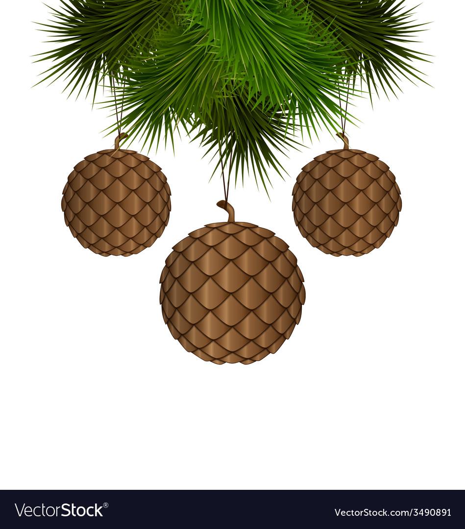 Cones like christmas balls hanging on pine vector | Price: 1 Credit (USD $1)