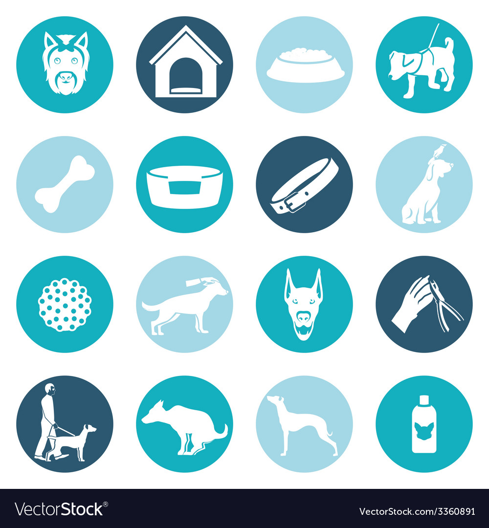 Dog icons white vector | Price: 1 Credit (USD $1)
