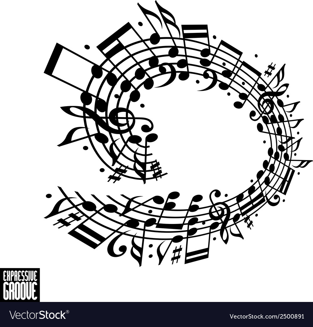Expressive groove concept black and white design vector | Price: 1 Credit (USD $1)