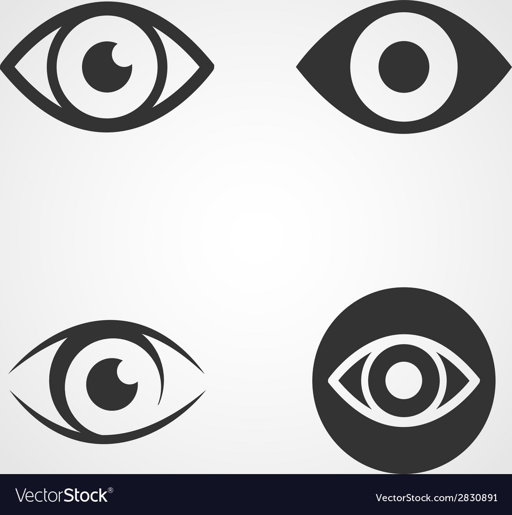 Eye icons set flat design vector | Price: 1 Credit (USD $1)