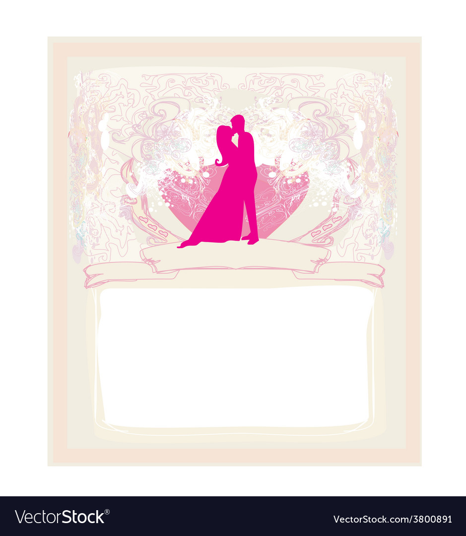 Floral greeting card with silhouette of romantic vector | Price: 1 Credit (USD $1)