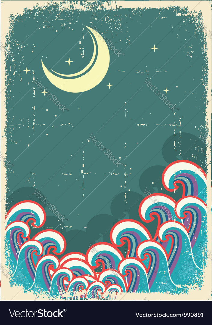 Grunge with moon and sea waves vector | Price: 1 Credit (USD $1)