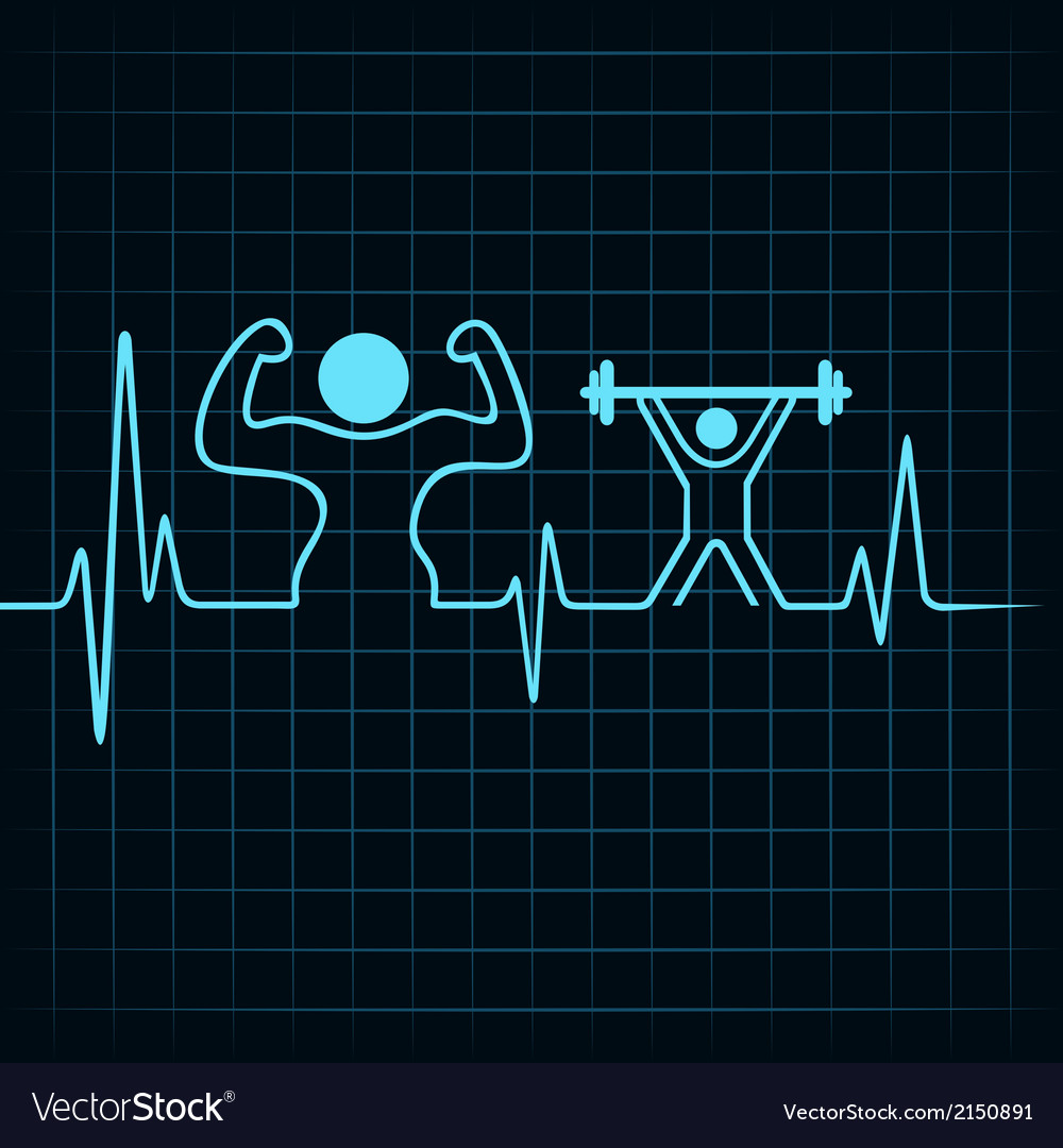 Heartbeat make a body builder and weight lifting vector | Price: 1 Credit (USD $1)