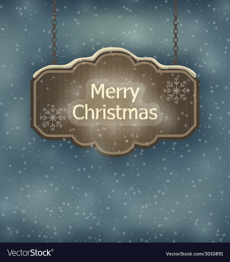Merry christmas wooden board night holiday vector | Price: 1 Credit (USD $1)