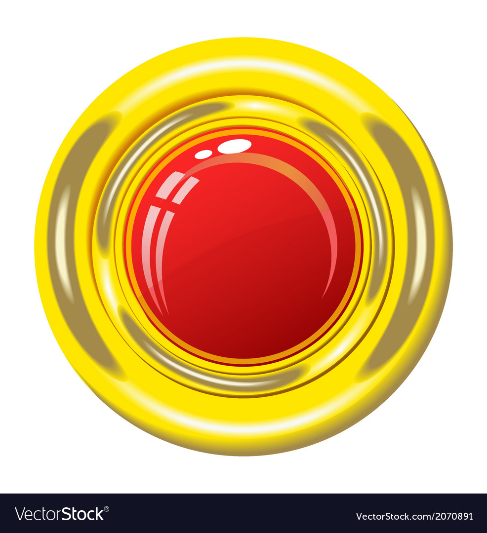 Red button in gold frame vector | Price: 1 Credit (USD $1)