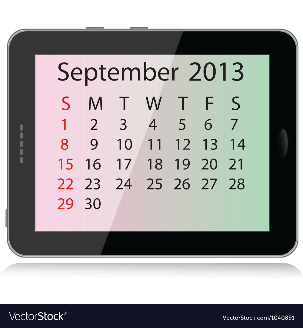 September 2013 calendar vector | Price: 1 Credit (USD $1)
