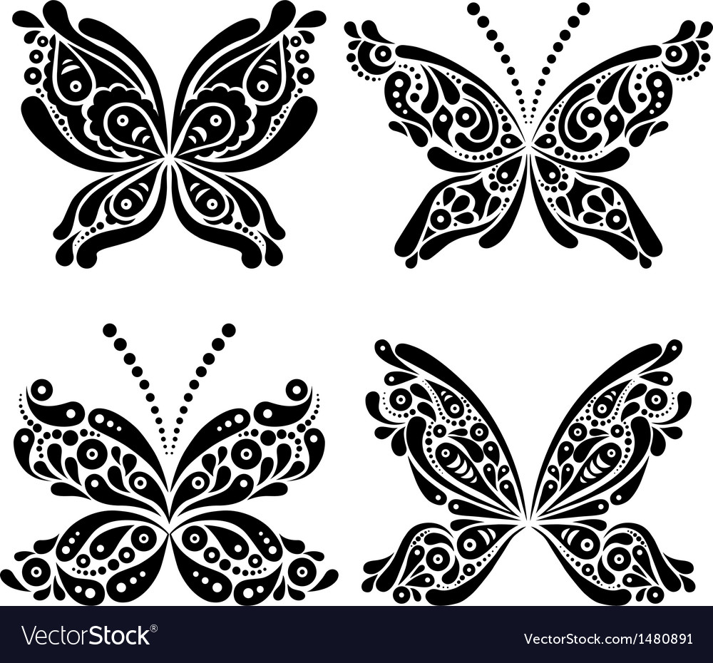 Set of beautiful black and white butterfly tattoo vector | Price: 1 Credit (USD $1)