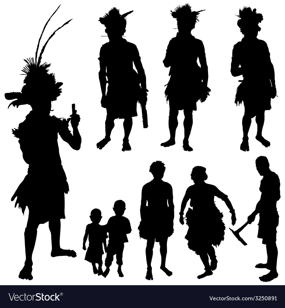 Tribe people silhouette vector | Price: 1 Credit (USD $1)