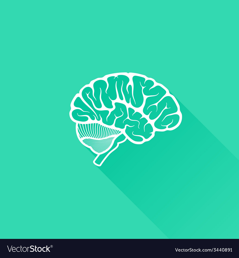 Vintage of human brain with long shadow vector | Price: 1 Credit (USD $1)